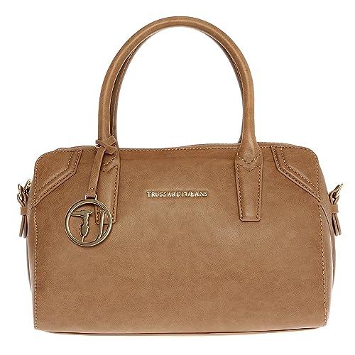 1c11807542 Trussardi Jeans Borsa a Mano Bauletto da Donna con Tracolla in Eco Pelle -  32x21x14 Cm - Mod. 75B702SM: Amazon.it: Scarpe e borse