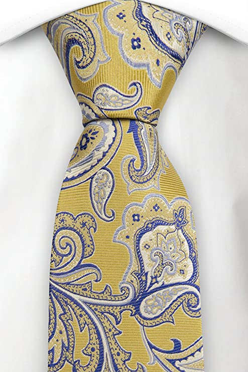 Handkerchief - Big yellow and blue floral pattern, near paisley Notch