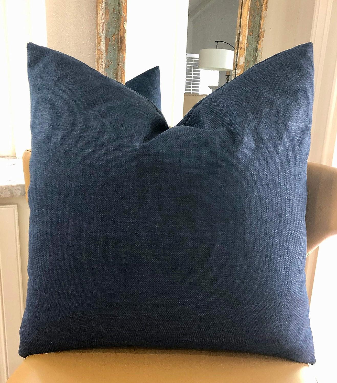 Encounter168 Navy Blue Outdoor Decorative Pillow Cover Solid Blue Patio Porch Cushion Coastal Indigo Blue Decor 18X18inch Euro Lumbar