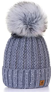 ae4931e4 4sold Womens Ladies Winter Hat Wool Knitted Beanie with Large Pom Pom Cap  SKI…