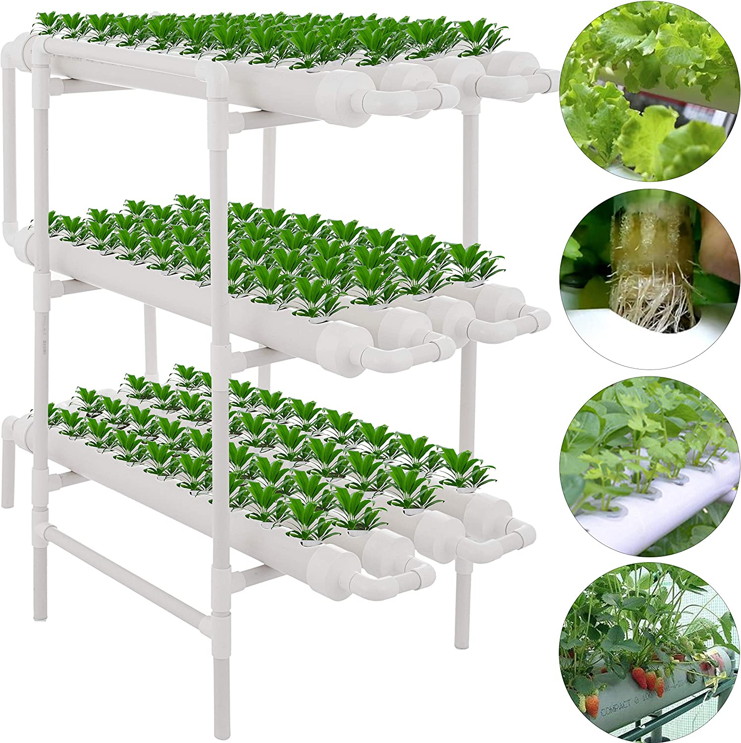 DreamJoy 3 Layers 108 Plant Sites Hydroponic Site Grow Kit 12 Pipes Hydroponic Growing System Water Culture Garden Plant System for Leafy Vegetables Lettuce Herb Celery