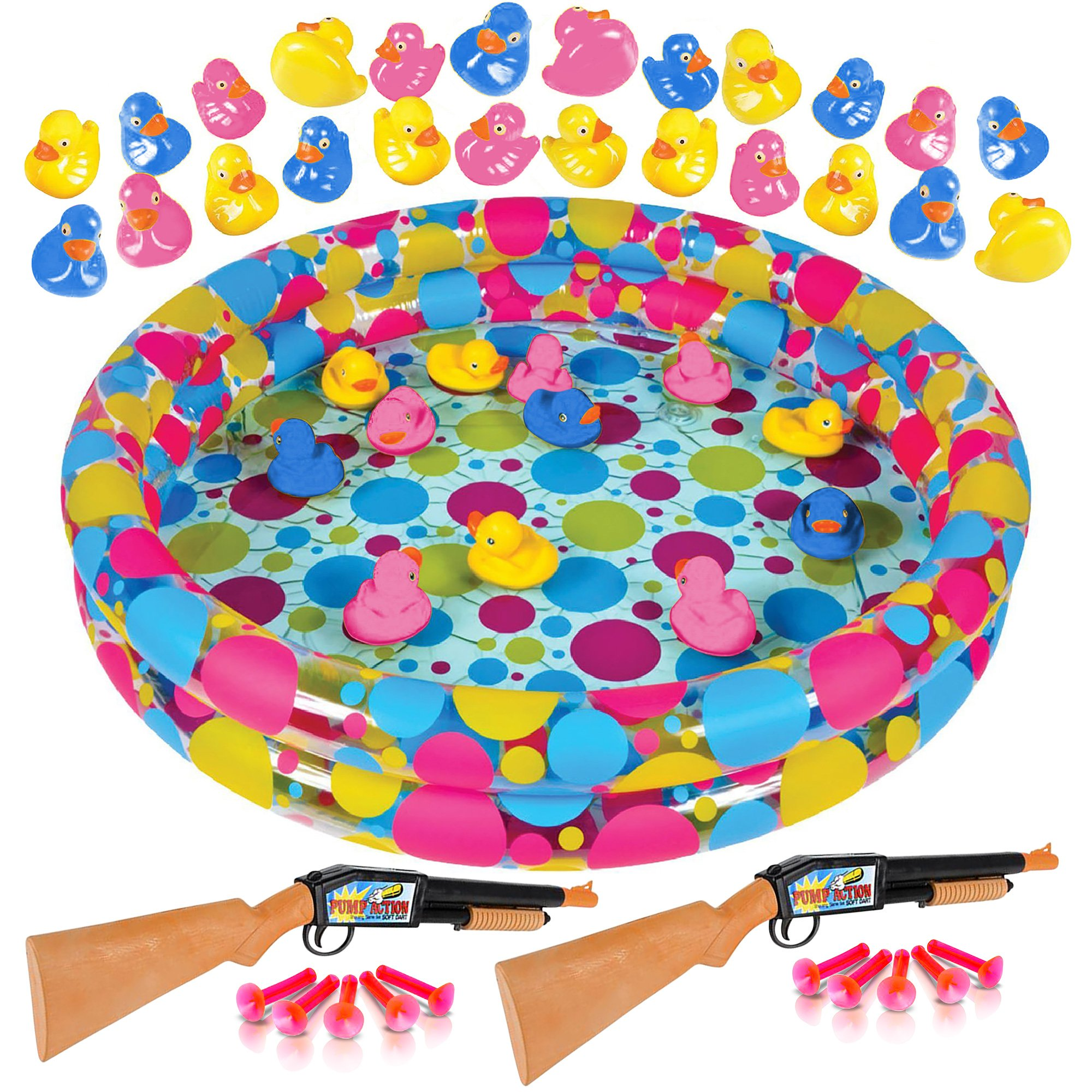 Gamie Duck 'em Down Shooting Game for Kids (43-Piece Set) | Includes Inflatable Pool, 2 Dart Rifles, 10 Darts, & 30 Ducks | Super Fun Indoor/ Outdoor Water Game for Summer / Carnival | Boys - Girls
