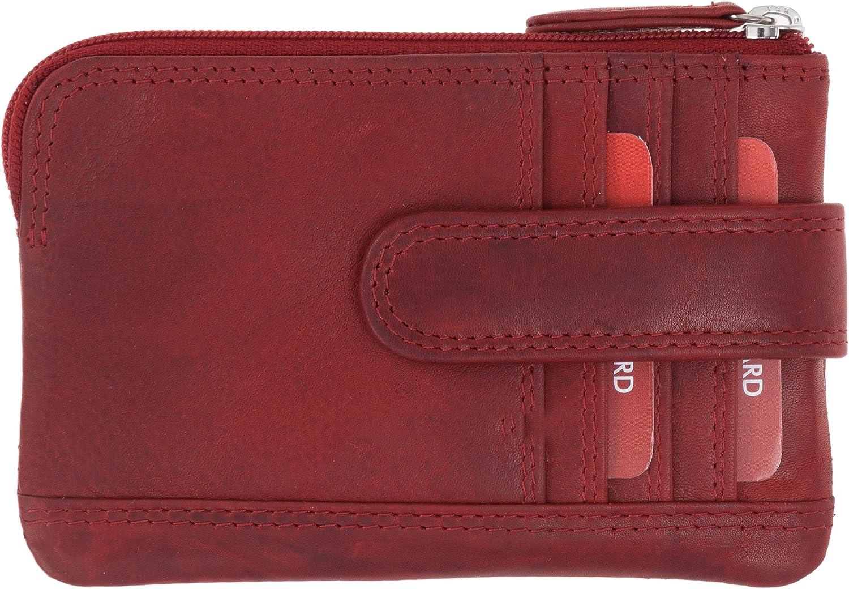 Old River Schl/üsselm/äppchen aus Nappa Leder mit 4 Kartenf/ächer und 2 RV Taschen Schl/üsseletui Minib/örse Geldb/örse Lederb/örse Vintage Red Rot