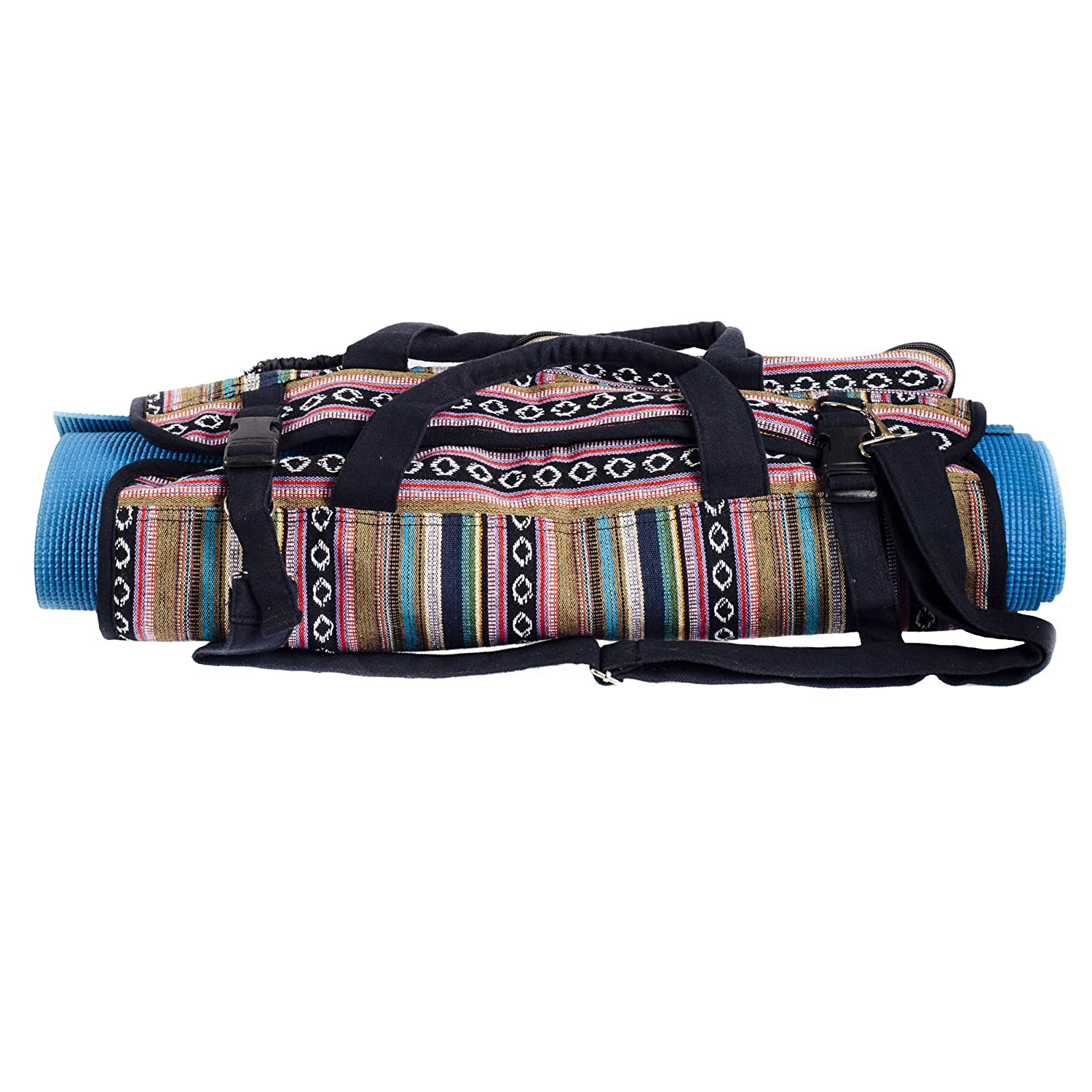 Colorful cotton knit taco Yoga Mat Bag-Pink-One Size