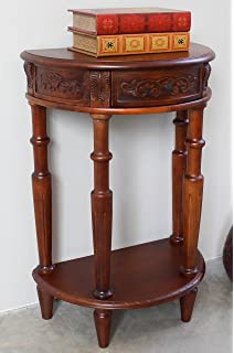 Hand Carved Wood Half Moon Console Table