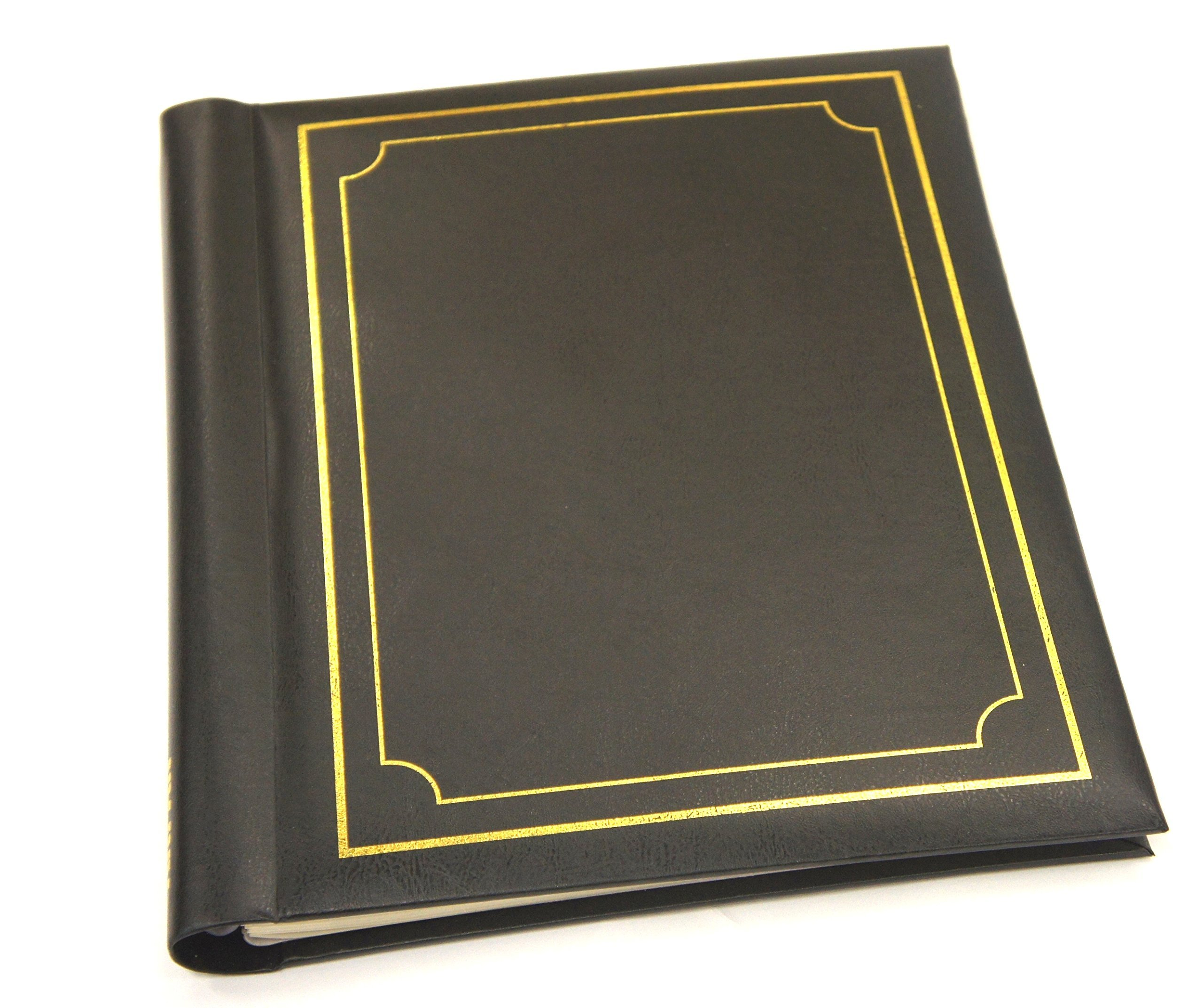 ARPAN Deluxe Gold Stamp Cover Large 20 Sheet Self Adhesive Magnetic Page Photo Album - Black