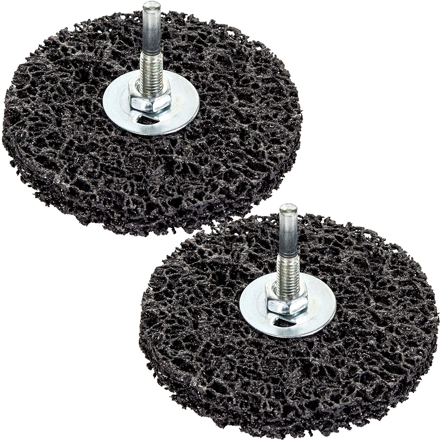 2x Rust/Paint 100mm Remover Disc Wheels - Grinder/Drill Abrasive Stripping Bits White Hinge