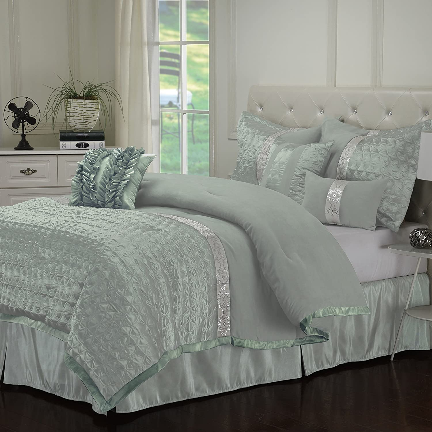on piece the pin overstock comforter teen laila shopping design best id set prices sets intelligent designs green mint