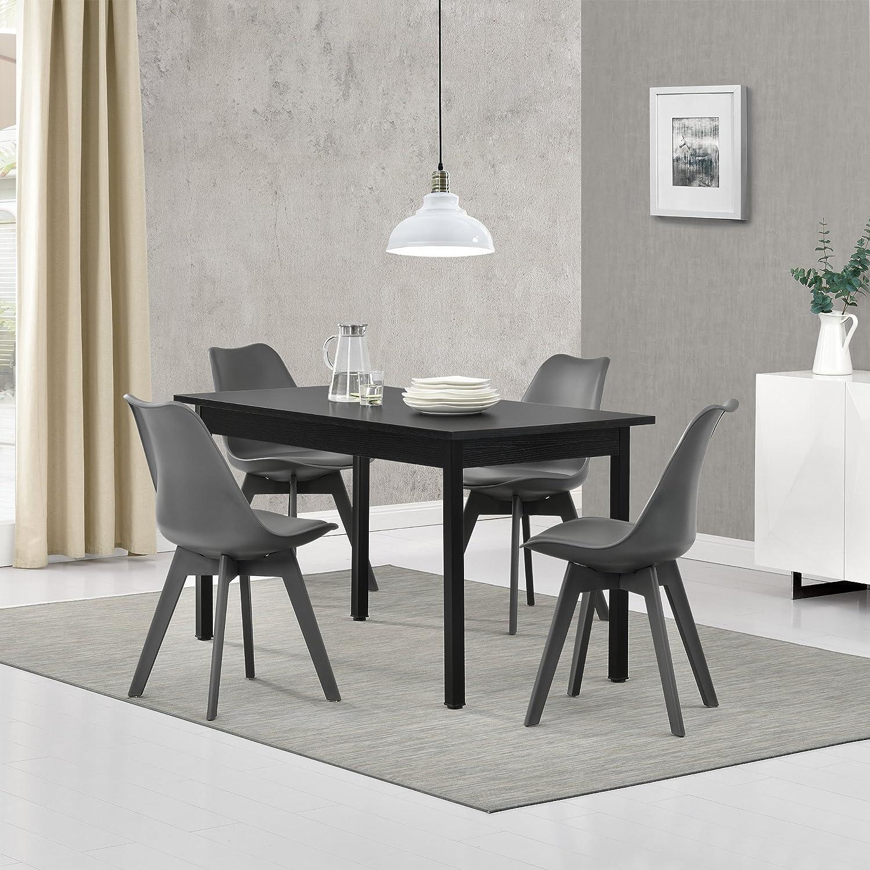 Esstisch Schwarz 140cm x 60cm mit 4 St/ühlen Grau en.casa