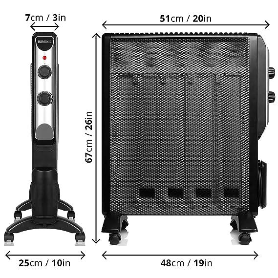 Duronic HV220 Calefactor Radiador Eléctrico Bajo Consumo con Panel de Mica y Termostato, Paneles Calefactores 2000 W Libre De Aceite Que Calientan en 1 ...
