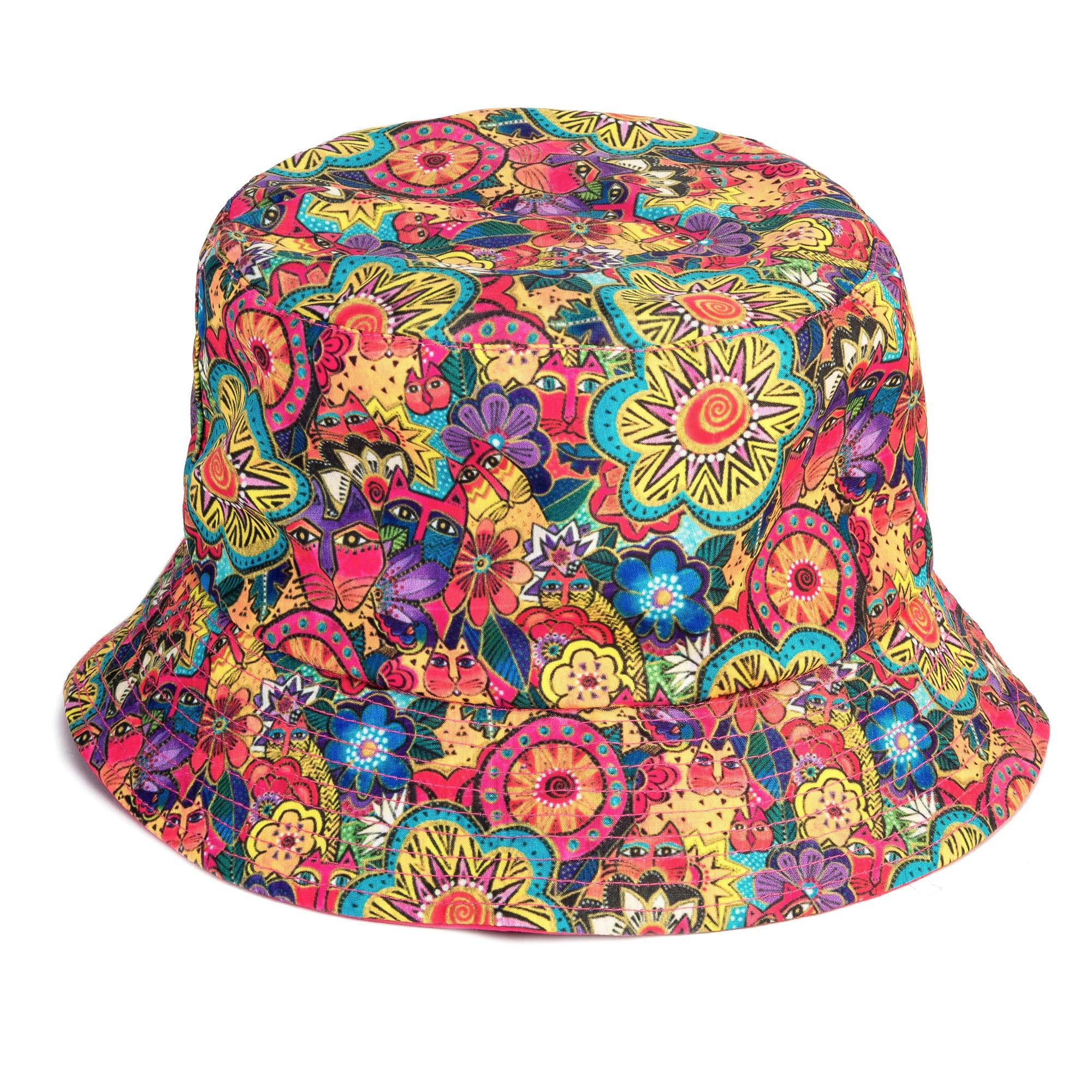 Laurel Burch Felines in The Garden Print Reversible Bucket Hat