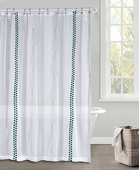 White Gray And Dark Teal Faux Linen Textured Sheer Fabric Shower Curtain Embroidered Geometric Design 70