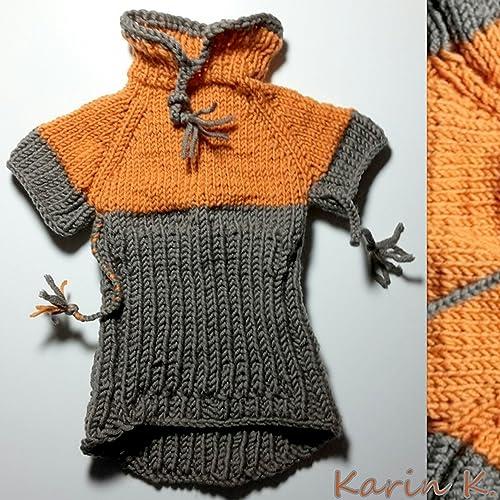 Hunde- Pullover in Lachsorange und Taupe, Colorblocking, gestrickt ...