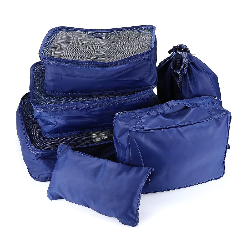 Apeanut 6 Stück Kleidertasche Verpackungswürfel Packwürfel Reisetasche Wäschebeutel Schuhbeutel Kosmetik Würfel Reisegepäck Kompressionstaschen Taschenorganizer für Kleidung (Blau)