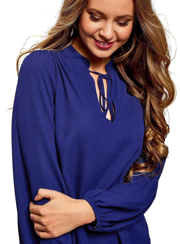 oodji Ultra Mujer Blusa Ancha con Decoración en los Hombros: Amazon.es: Ropa y accesorios