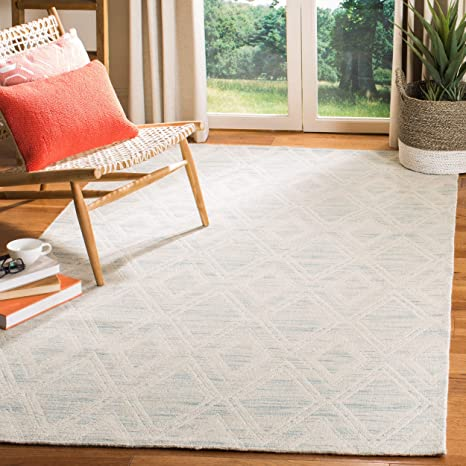 Safavieh Marbella Collection MRB312B Light Blue and Ivory Area Rug, 8 x 10