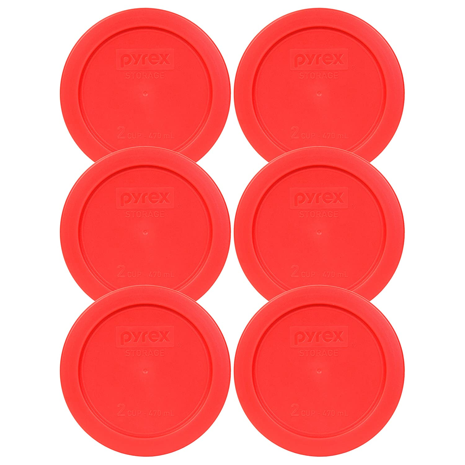 Pyrex 7200 Pc Red Round 2 Cup Storage Lid For Glass Bowl