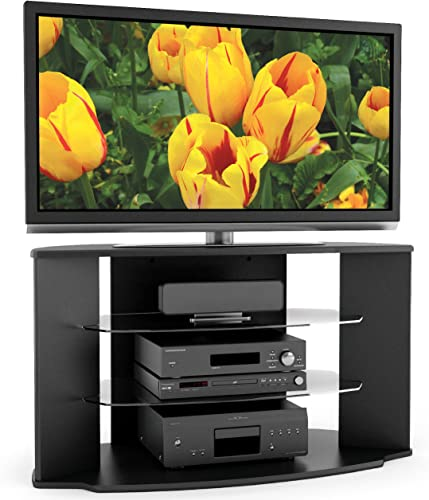 Sonax Rio 45-Inch Midnight Black TV Stand with Two Glass Shelves
