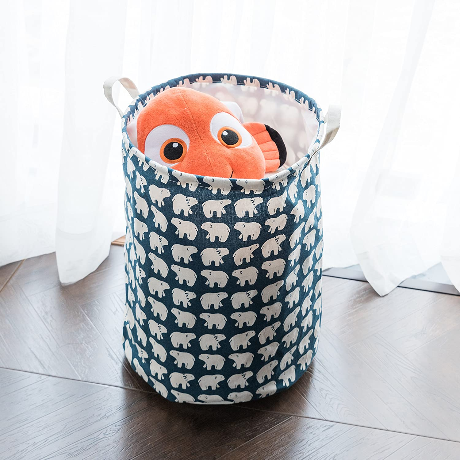 Amazon com foldable laundry basket dirty clothes hamper drawstring cover perfect for college dorms nursery kids room bathroom or closet cute bear