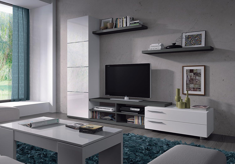 Adhara Blanc Et Gris Cendr 4 Tag Res Et 2 Portes Meuble Tv Avec  # Adhara Meuble Tv
