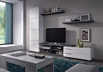 Adhara Blanc Gris Cendré 4 étagères 2 Portes Meuble Tv