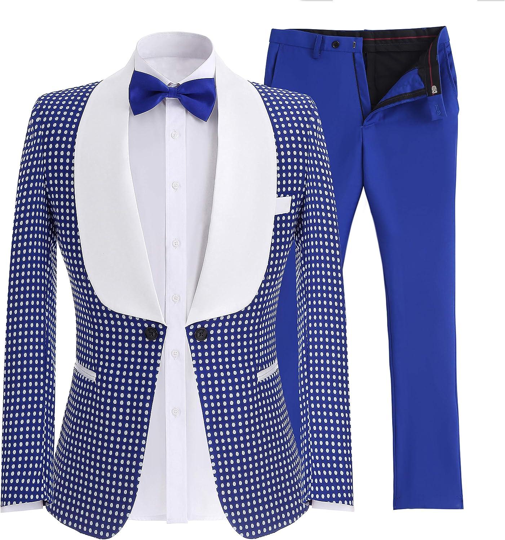 SOLOVEDRESS Men's Two-Piece Tuxedo Groomsmen Suits One Button Slim Fit Business Suits Blazer