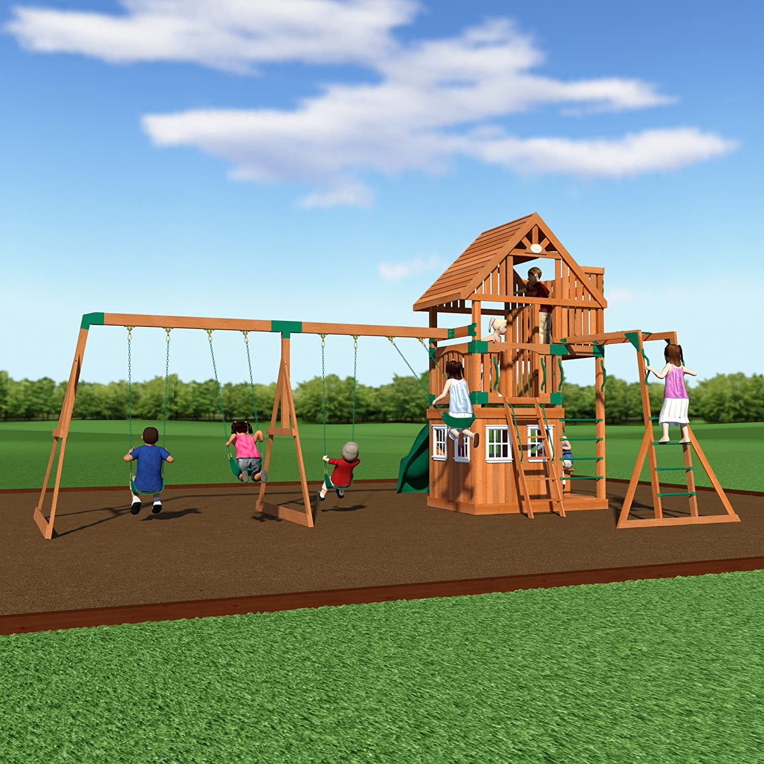 amazon com backyard discovery wanderer all cedar wood playset