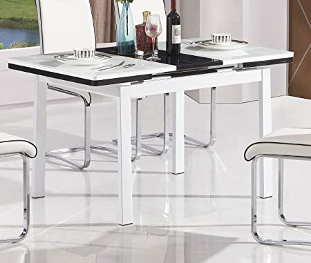 White Extending Husty Dining Table 7Star MDF With Glass Top Metal Frame Available In