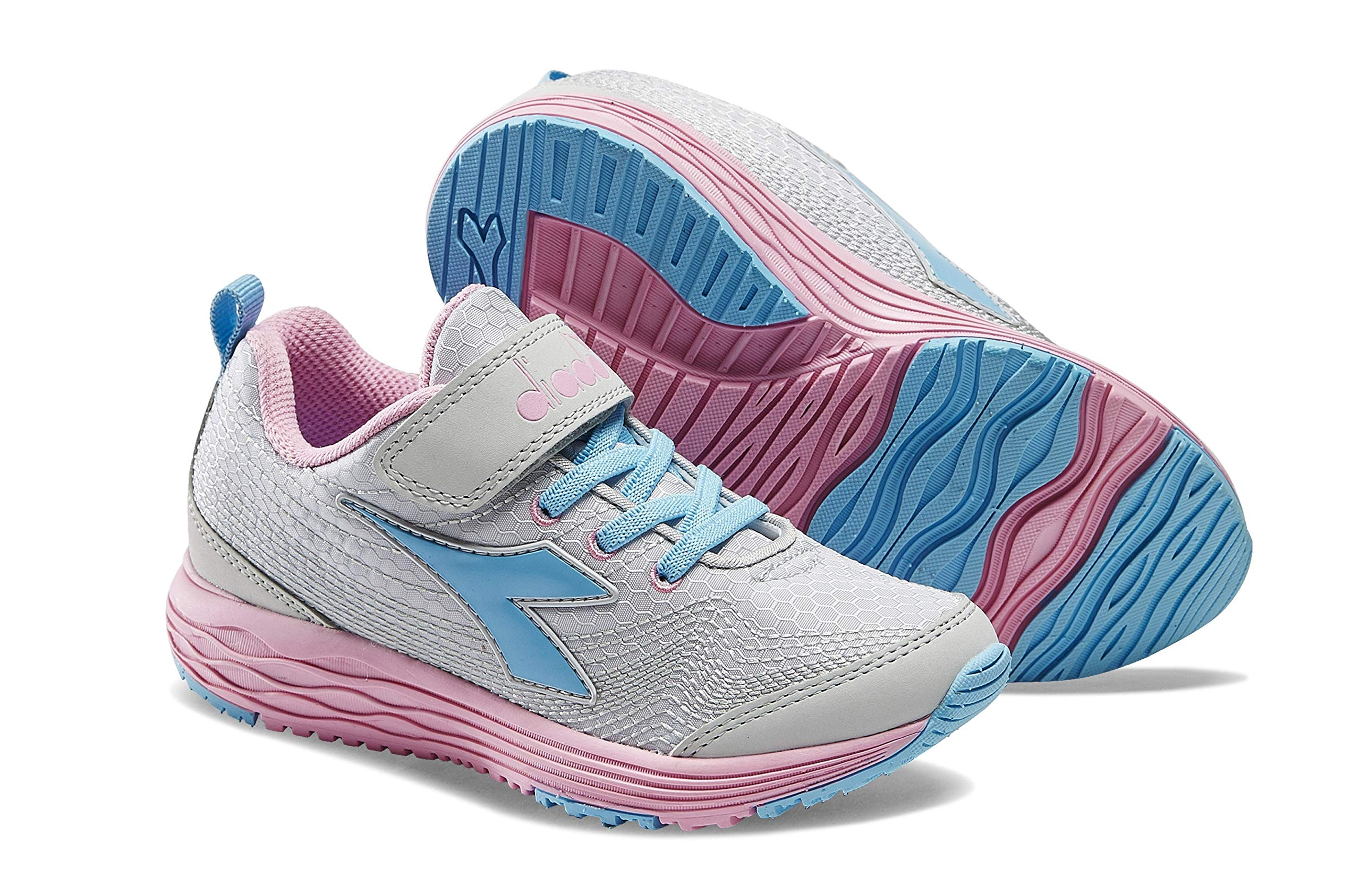 Diadora Kids' Flamingo Jr. Running Shoe Sneakers (2 M US Little Kid, Gray Violet/Paradise Pink)