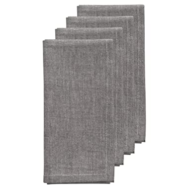 Now Designs Chambray Napkins, Set of Four, Pewter Grey