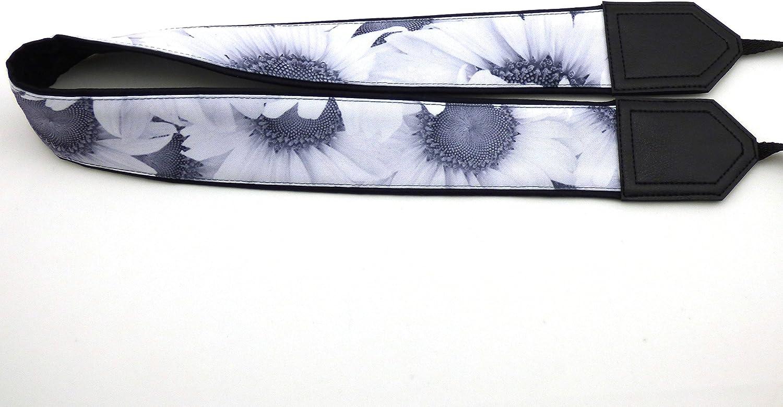 Durable Wedding Camera Strap.White Flowers Sunflowers Camera Strap Light Weight and Well Padded Camera Strap Black and White Floral Camera Strap Black DSLR//SLR Camera Strap Code 00005