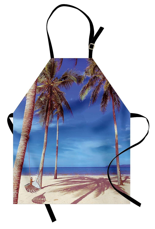 ビーチエプロンby Ambesonne、イメージのanハンモックat Goldenトロピカルビーチby the Ocean with Palms Surreal、ユニセックスキッチン調節可能なネックよだれかけエプロンfor Cooking Bakingガーデニング、ネイビークリームグリーン   B077GBXRJ1