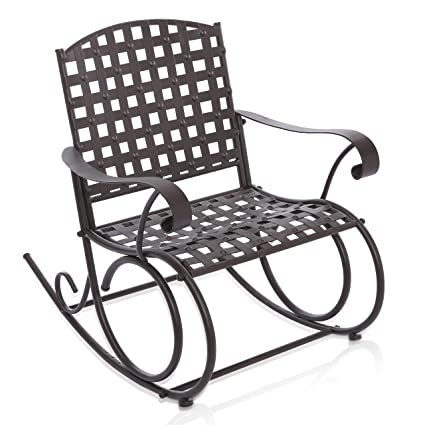 MyGift Decorative Dark Brown Woven Metal Rocking Chair/Outdoor Patio U0026 Deck  Furniture Rocker