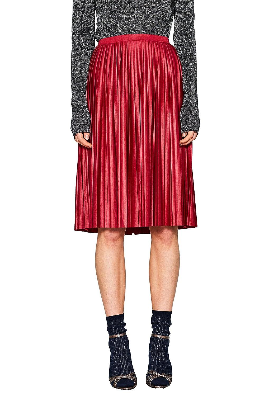 Esprit 018ee1d003, Falda Mujer, Rojo (Dark Red 610), X-Large ...