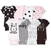 Gerber Baby Girls' 8-Pack Short-Sleeve Onesies Bodysuit, Bunny, Newborn