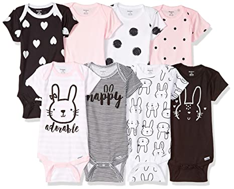 6b86168d4 Gerber Baby Girls' 8-Pack Short-Sleeve Onesies Bodysuit, Bunny, Newborn