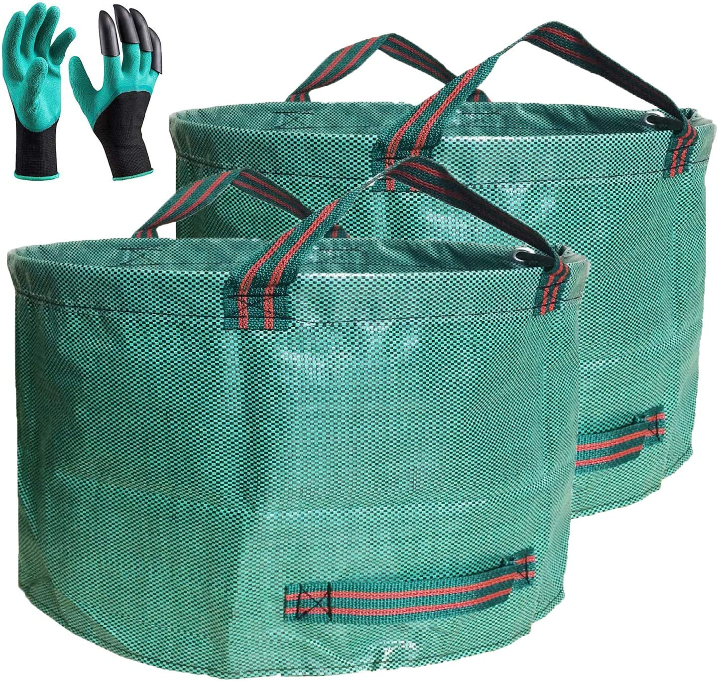 Professional 2-Pack 63 Gallons Lawn Garden Bags Yard Waste Bag (D31, H19 inches) with Gardening Gloves,Standable,Reusable Leaf Grass Bag,Garden Trash Containers,Lawn Yard Waste Bags with 4 Handles