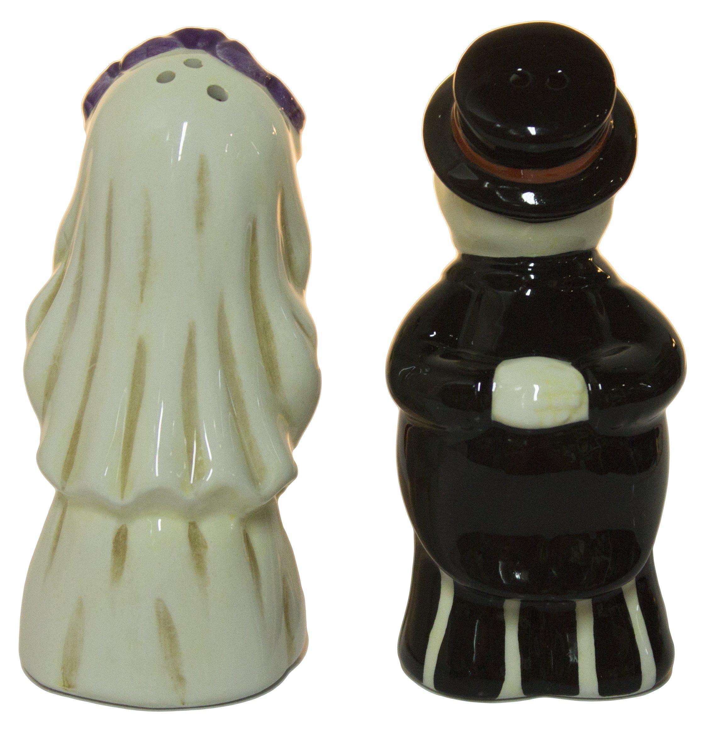 Ganz Skeleton Bride and Groom Magnetic Ceramic Salt and Pepper Shakers