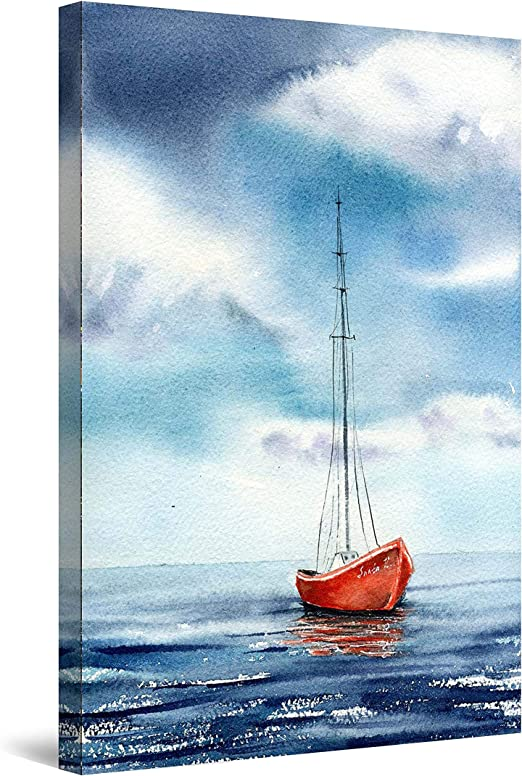 Dawn Sea Boat Canvas Painting Paint By Number Kits Home Wall Decor