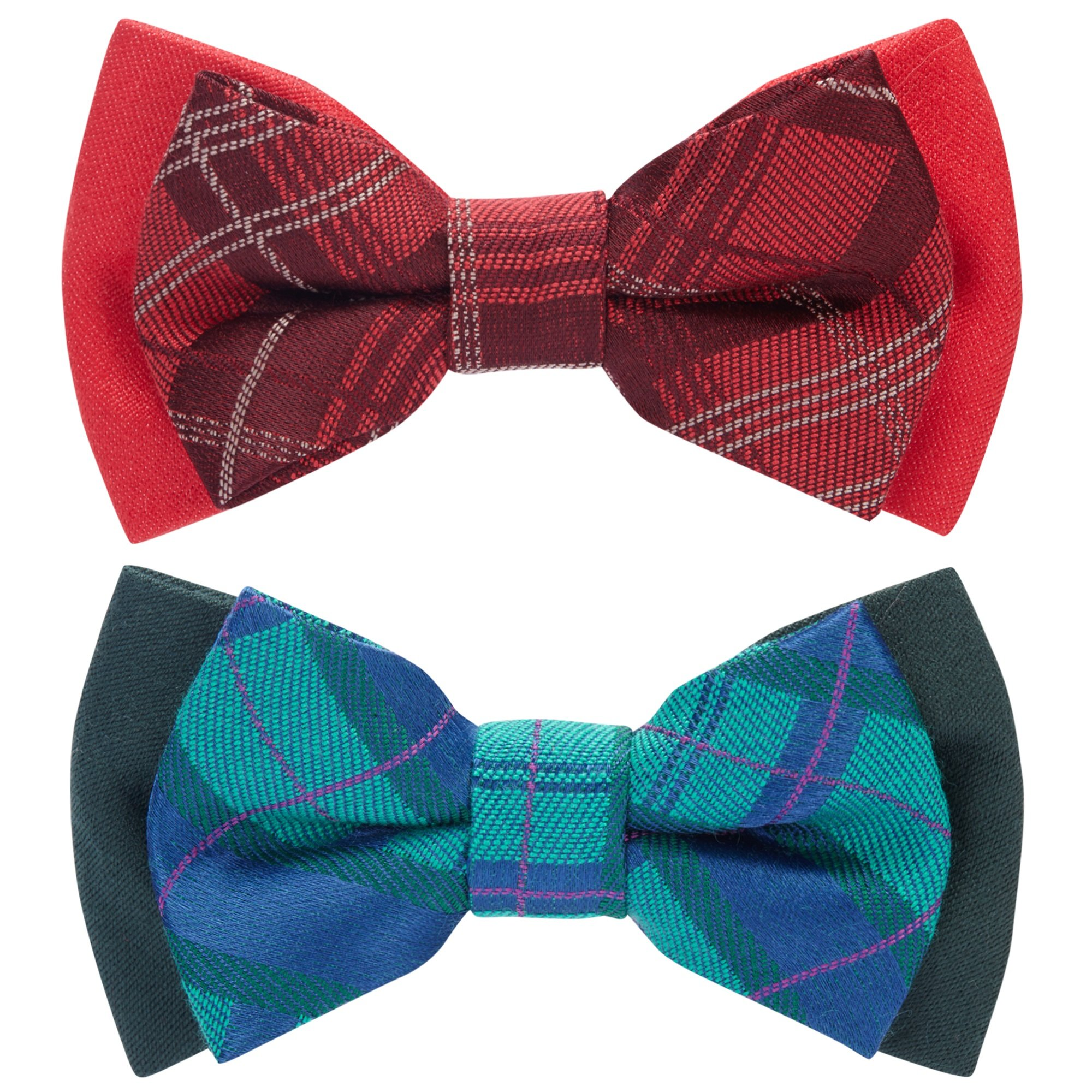 Blueberry Pet Summer Gift Box with Pack of 2 Handmade Dog Cat Bow Tie, Scottish Plaid Tartan Style Bowtie Set in Scarlet Red & Emerald Green, 4'' 2.5''