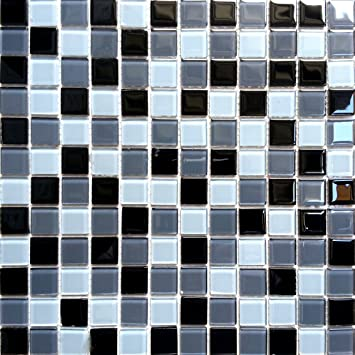 30x30cm black blue grey glass mosaic tiles sheet mt0013 amazon co
