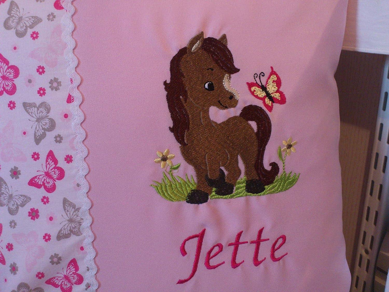 Kissen zur Geburt Pferdchen//Schmetterling rosa 1 Taufe