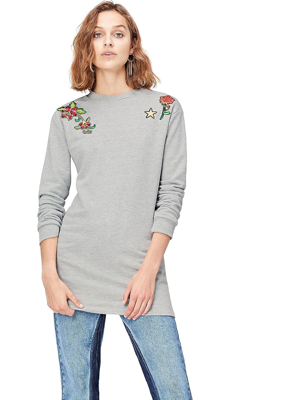TALLA 40 (Talla del Fabricante: Medium). Marca Amazon - find. Vestido Sudadera con Flores Bordadas para Mujer