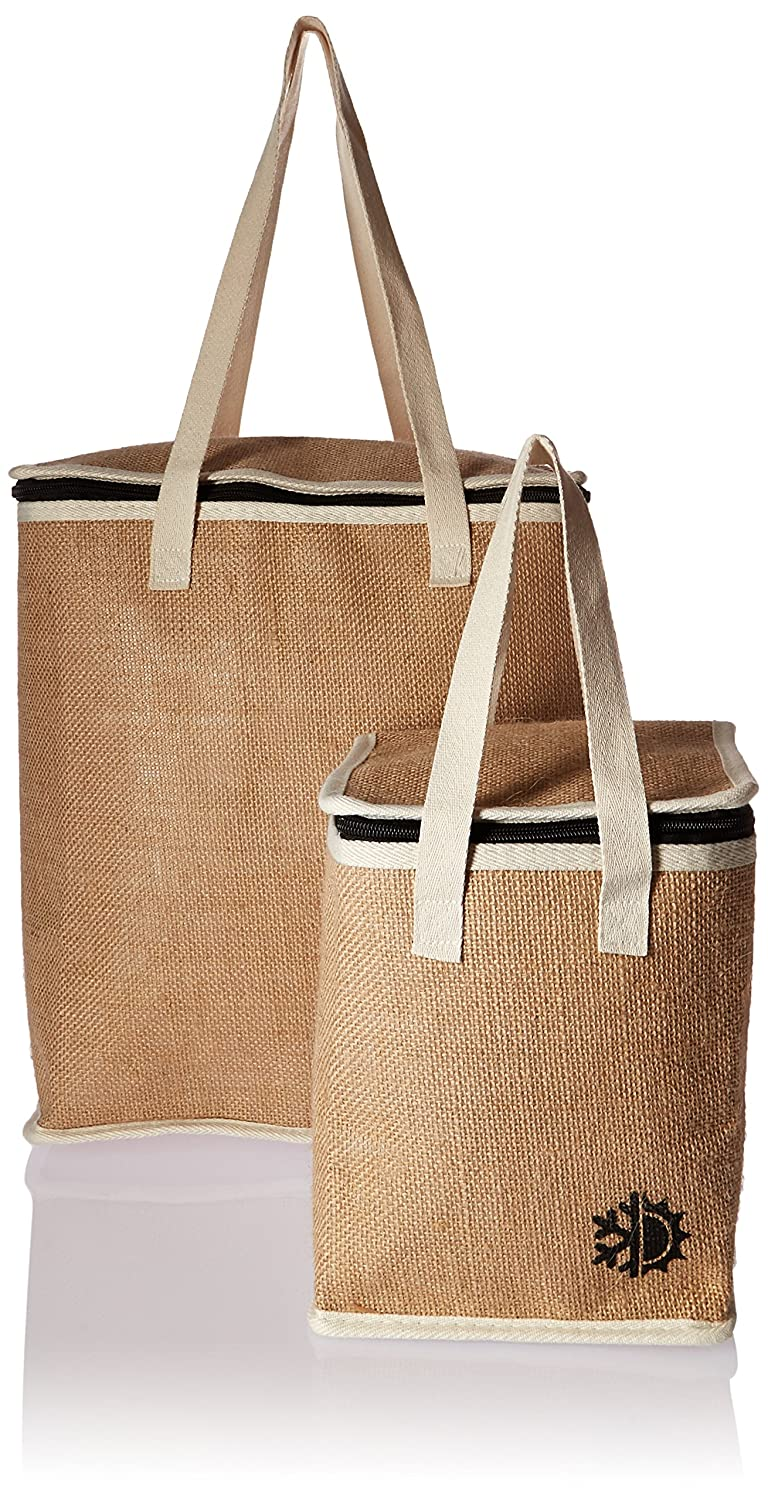2 Piece Earthwise Insulated Reusable GroceryショッピングバッグセットランチバッグSmall 1 & 1 Large Thermal Cooler Tote W/Zipトップ部(2 Piece Set) B01HDRH6MM