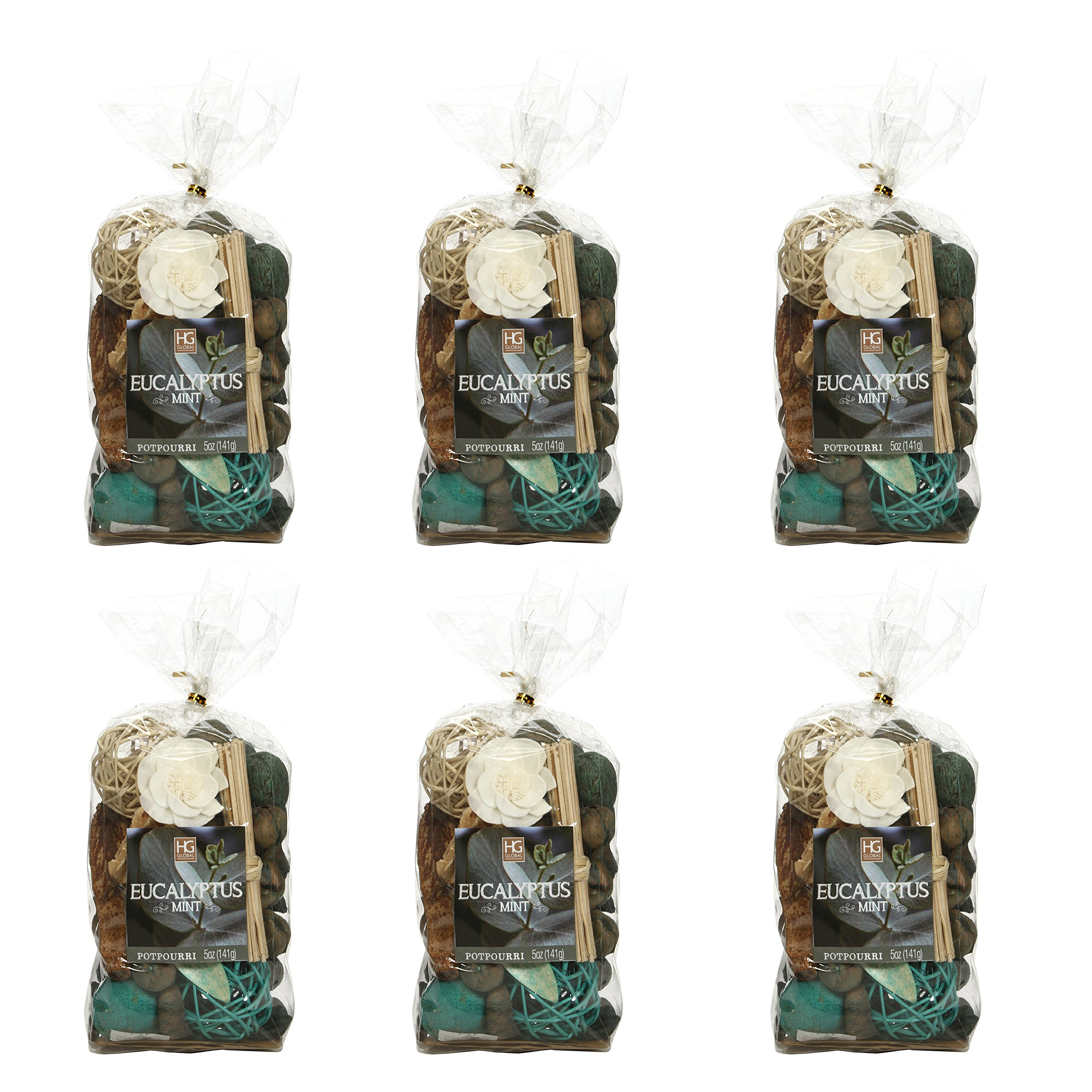 Hosley Set of 6 Bags, 5 Oz Each, Total 30 Oz Eucalyptus Mint Chunky Potpourri. Ideal for Party Favor, Weddings, spa, Reiki, Meditation, Bathroom Settings. O3