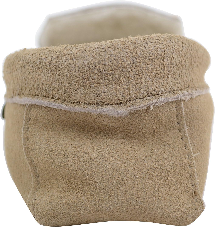 SNUGRUGS Mens Beige Suede//Sheepskin Wool Moccasins with Soft Sole