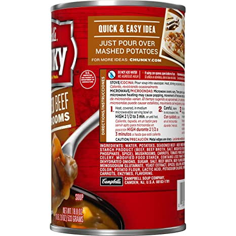 Amazon.com : Campbells Chunky Soup, Slow Roasted Beef with Mushrooms, 18.8 Ounce : Soups Stews And Stocks : Grocery & Gourmet Food