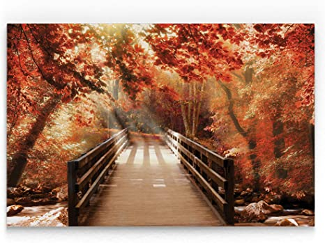 Amazon Com Wexford Home Autumn Bridge Gallery Wrapped Canvas Wall Art 24x36 Posters Prints