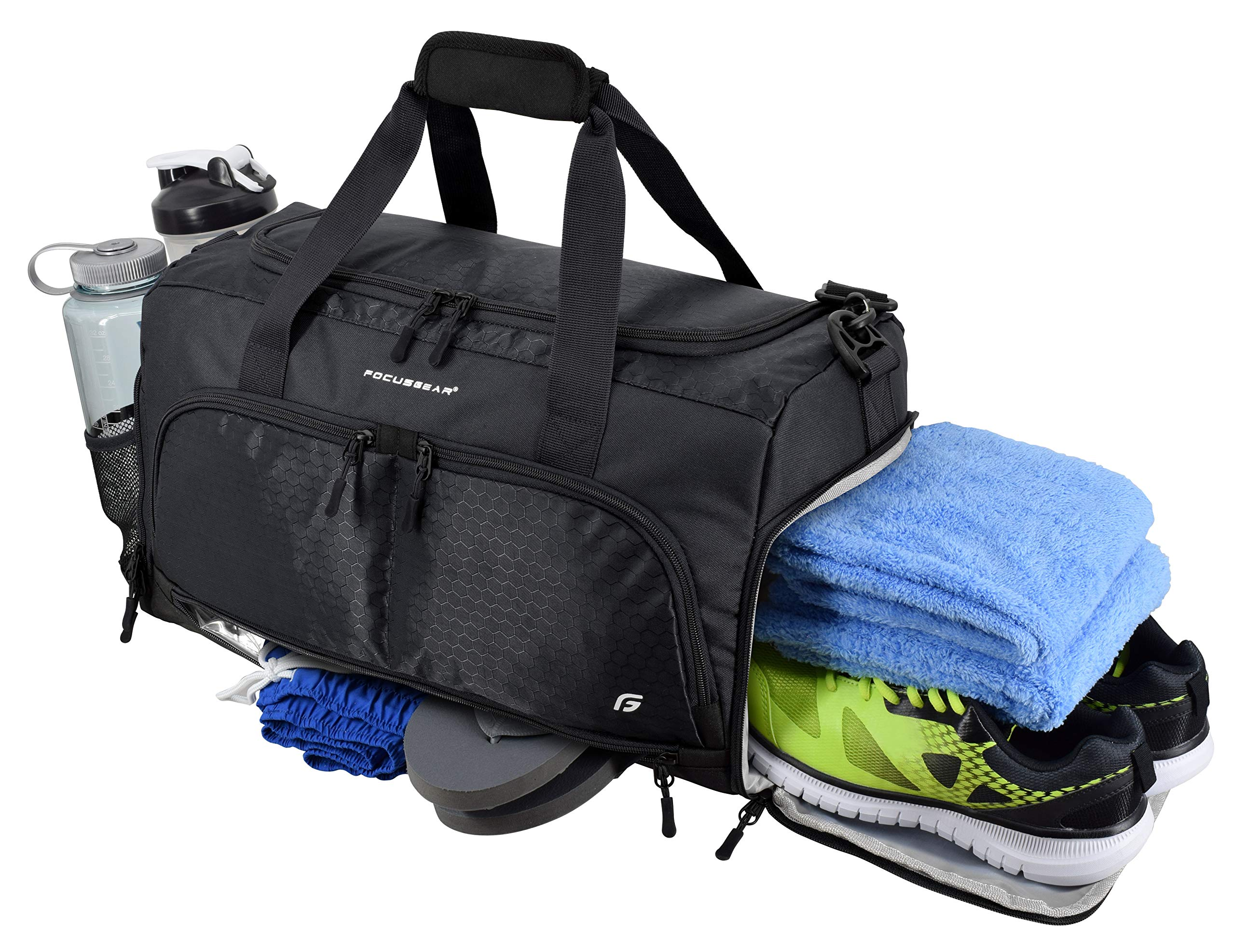 Ultimate Gym Bag 2.0: The Durable Crowdsource Designed Duffel Bag with 10 Optimal Compartments Including Water Resistant Pouch (Black, Medium (20''))