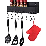 15-Inch Metal Cabinet or Wall Mounted Spice Organizer Rack, Cooking Utensil Hanger Shelf with 8 S-Hooks